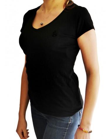 T shirt Col V Femme Broderie ★SE42 [Noir] Coté Cœur
